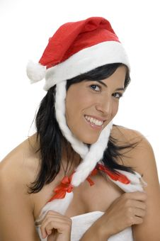 Free Pleased Woman Holding Santa Cap Royalty Free Stock Images - 6618119