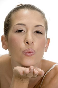 Free Blonde Lady Giving Flying Kiss Royalty Free Stock Photo - 6618155