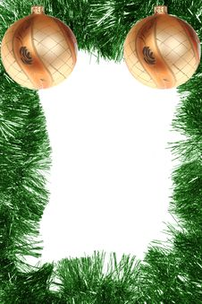 Free Green Christmas Frame With Gold Balls Stock Image - 6618191