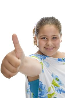 Free Smiling Girl Wishing Good Luck Stock Image - 6618861