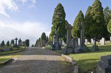 Footpath Through A Graveyard. Royalty Free Stock Photos