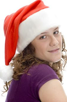 Free Lady Posing With Santa Cap Stock Image - 6619021