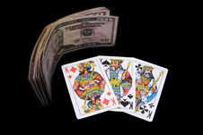 Playing Cards And Money Royalty Free Stock Image