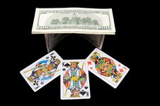 House From Money And Playing Cards Stock Image