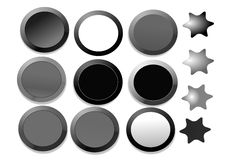Free Buttons In Black And White Stock Images - 6619414