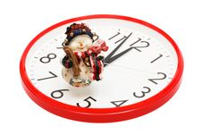 Toy Snowball And Clock Royalty Free Stock Photos