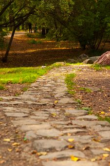 Free Stone Path In Autumn Park Royalty Free Stock Photos - 66136028