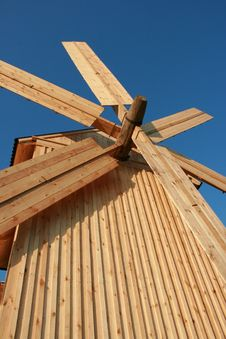 Wooden Windmill Against Clear Deep Blue Sky 2 Stock Photo