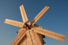 Wooden Windmill Against Clear Deep Blue Sky 4 Royalty Free Stock Image