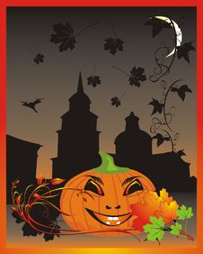 Pumpkin. Halloween. Decorative Card Royalty Free Stock Photography