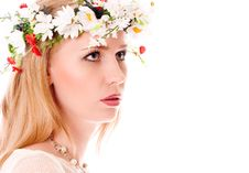 Pretty Spring Girl With Wreath On Head Royalty Free Stock Image