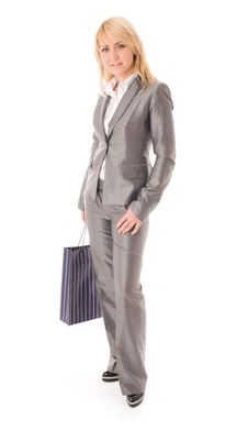 Free Portrait Of Happy Businesswoman With Red Bag Stock Image - 6621441