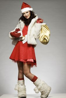 Free Santa Girl Royalty Free Stock Photos - 6621638