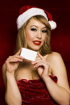 Blonde Santa Girl Stock Images