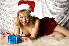 Free Blonde Santa Girl Stock Photography - 6622282