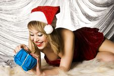 Free Blonde Santa Girl Stock Photography - 6622302
