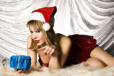 Free Blonde Santa Girl Stock Image - 6622411