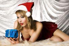 Free Blonde Santa Girl Stock Image - 6622421