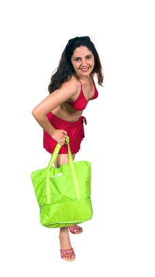 Free Pretty Brunette Girl In Swim Suit With Beach Bag Stock Photos - 6622903