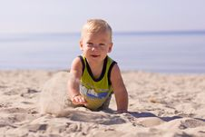 Free Infant Playing At The Beach Royalty Free Stock Photo - 6622945