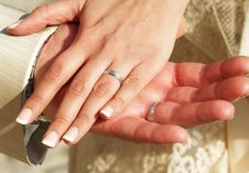 Hands Of Married Grooms With Wedding Rings Stock Images