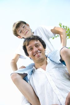 Daddy Riding Stock Images