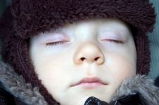 Free Sleeping Baby Boy Winter Royalty Free Stock Photo - 6623525