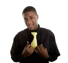 Free Young Black Man In Yellow Tie Hands On Vest Stock Photography - 6623642