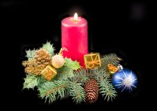 Candle And New Year S Ornaments Stock Photography