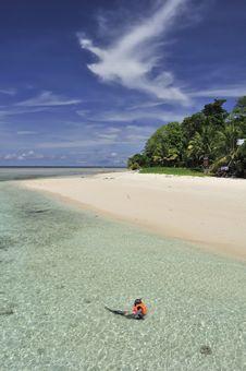Free Snorkeler On Beach Stock Image - 6628711