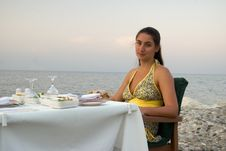 Seaside Resort Dinner Stock Photo