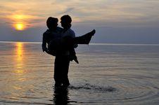 Free Romantic Couple At Sunset Stock Image - 6629581