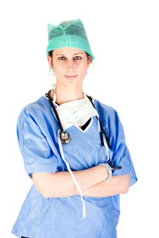 Free Attractive Female Nurse In Scrubs With Stethoscope Royalty Free Stock Image - 6629606