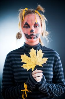 Free Jack-o-lantern Girl With Autumn Leaves Stock Photo - 6629800