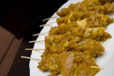 Chicken Satay Skewers Royalty Free Stock Photos