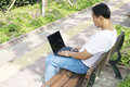 Free Man Using A Laptop In The Park Royalty Free Stock Photos - 6634408