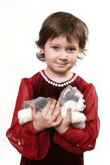 Free Little Girl With Toy Puppy Stock Photo - 6630060