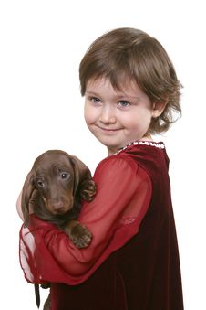 Free Little Girl With Dachshund Puppy Stock Images - 6630144