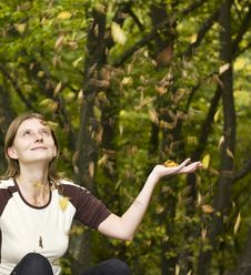 Girl Enjoying Autumn Stock Photography