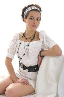 Beautiful Girl In White Dress Stock Photos