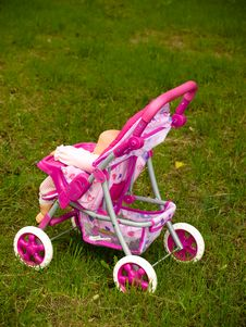 Pink Toy Pram Stock Photos