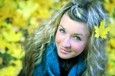 Young Woman In Autumn Forest Royalty Free Stock Images