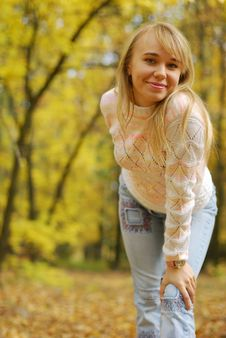Free Girl On A Background Autumn Forest Stock Photography - 6631562