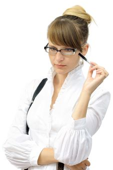 Thoughtful Young Businesswoman Royalty Free Stock Photo