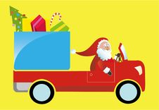 Free Santa Claus Driving Gift Truck Royalty Free Stock Photo - 6632005
