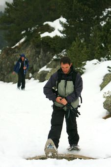 Free Hikers On A Snowy Mountain Stock Images - 6632144
