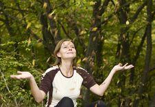 Girl Enjoying Autumn Stock Images