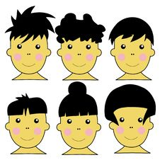 Free 6 Cute Asian Kids Vector Illustration Stock Images - 6632574