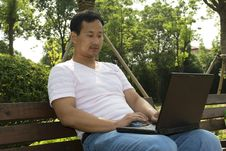 Man Using A Laptop In The Park Stock Image
