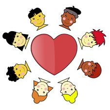 Free Multicultural Kid Faces United Around Heart Illust Stock Photo - 6633350